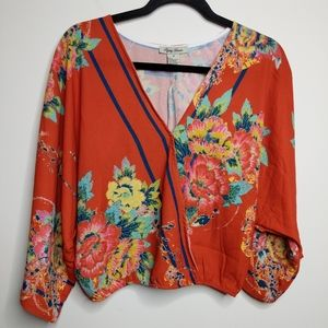 Flying Tomato Floral Wrap Top - Size M - EUC